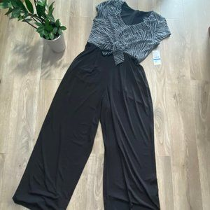 Karen Kane Silver & Black Jumpsuit with Tie Detail